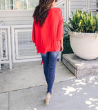 Fashionable Sexy   V-Neck Chiffon Blouse T-Shirt Red xl