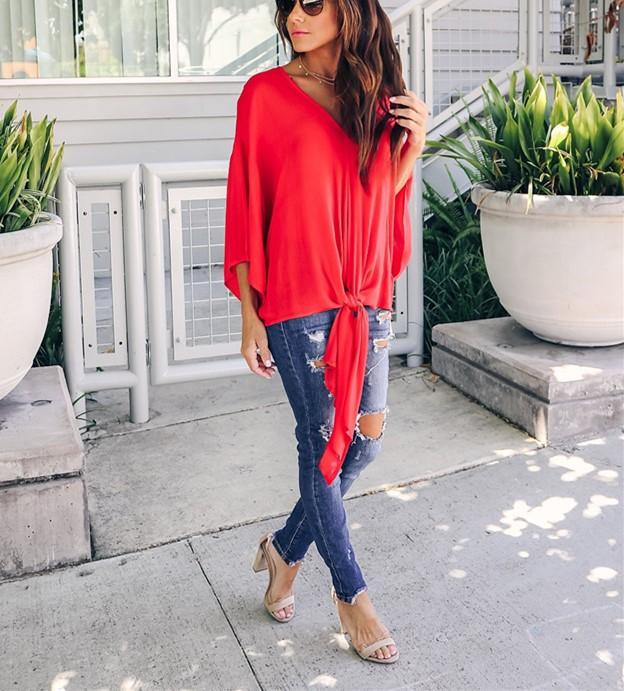 Fashionable Sexy   V-Neck Chiffon Blouse T-Shirt Red l