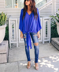 Fashionable Sexy   V-Neck Chiffon Blouse T-Shirt Blue s