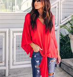 Fashionable Sexy   V-Neck Chiffon Blouse T-Shirt Red m