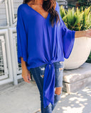 Fashionable Sexy   V-Neck Chiffon Blouse T-Shirt Blue m