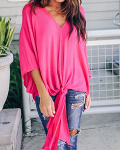 Fashionable Sexy   V-Neck Chiffon Blouse T-Shirt Pink m