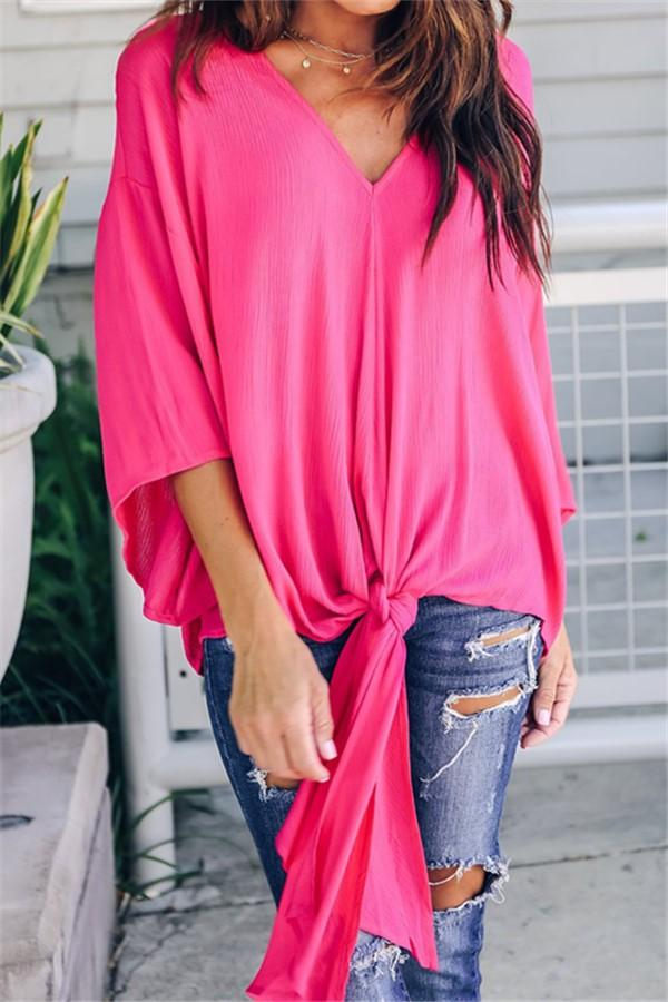 Fashionable Sexy   V-Neck Chiffon Blouse T-Shirt Pink s