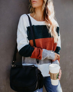 Fashionable Color Matching Patchwork Striped Sweater Same As Photo m