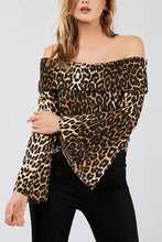 Leopard Printed Flare Long Sleeve Off Shoulder T-Shirts