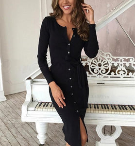 Sexy Button Longsleeve Knit Sweater Maxi Dress Black s