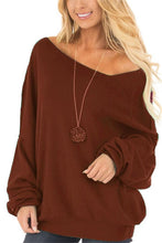 Sexy Pure Color Slanted Shoulder Fleece Blous