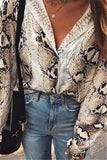 Casual Snake Print Long Sleeve Shirt Blouse Same As Photo s