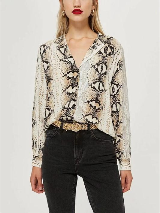 Casual Snake Print Long Sleeve Shirt Blouse Same As Photo l