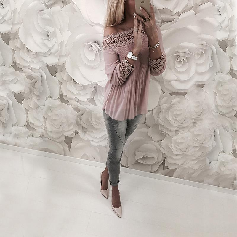 Sexy One Word Shoulder   Chiffon Plaited Blouse Pink l
