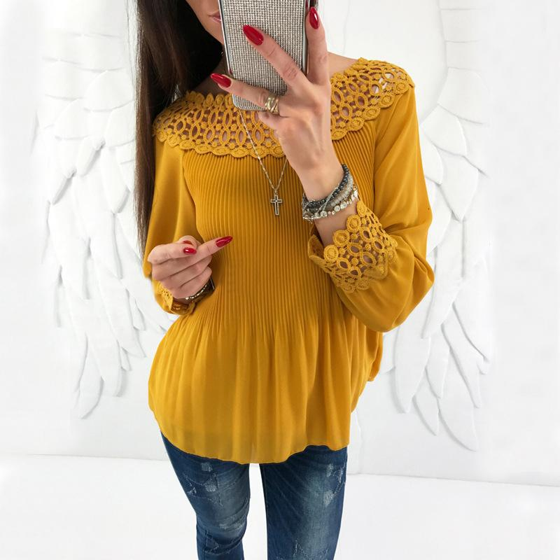 Sexy One Word Shoulder   Chiffon Plaited Blouse Yellow s