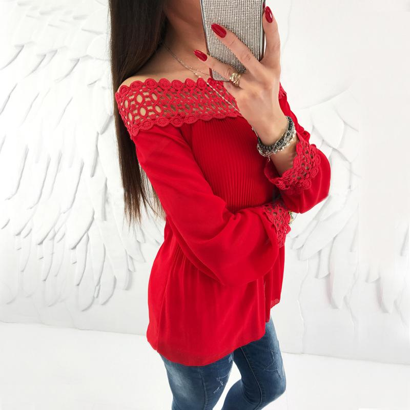 Sexy One Word Shoulder   Chiffon Plaited Blouse Red s