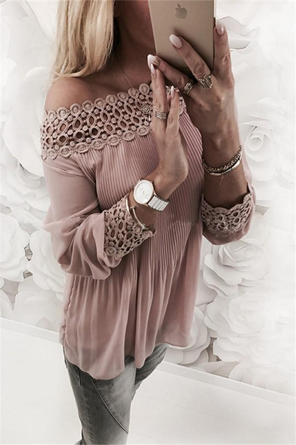 Sexy One Word Shoulder   Chiffon Plaited Blouse Pink s