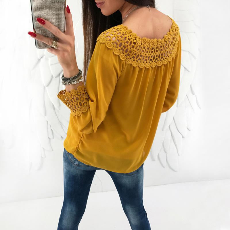 Sexy One Word Shoulder   Chiffon Plaited Blouse Yellow l