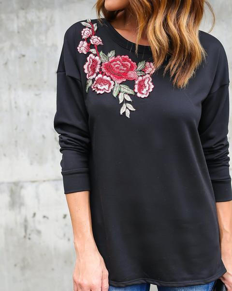 Embroidered Round  Collar Long Sleeve T-Shirt Blouse Black l