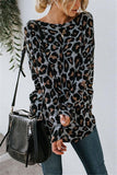 Sexy Leopard Print   Long Sleeved Open Back T Shirt Blouse Gray s