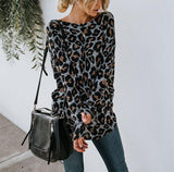 Sexy Leopard Print   Long Sleeved Open Back T Shirt Blouse Gray m