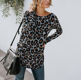 Sexy Leopard Print   Long Sleeved Open Back T Shirt Blouse Gray l