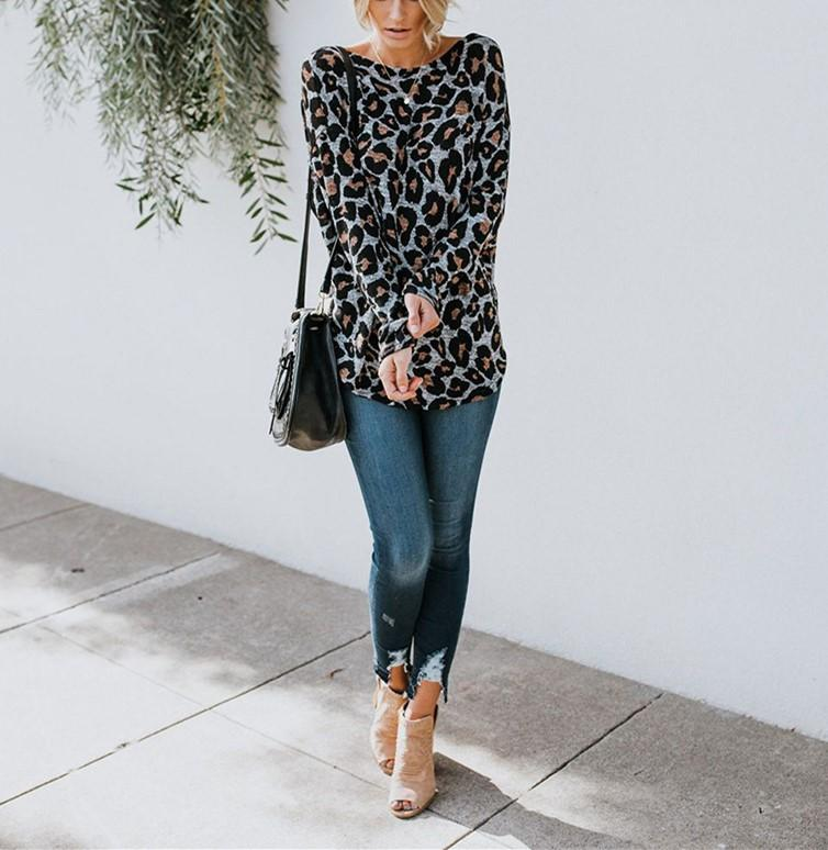 Sexy Leopard Print   Long Sleeved Open Back T Shirt Blouse Gray xl