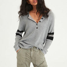 Casual Round Collar Buttons And Matching Knit Blouse T Shirt