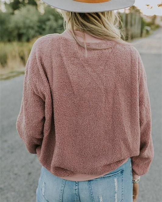 Casual Fashionable Round Neck Long Sleeve Plush Sweater Fleece Pink xl