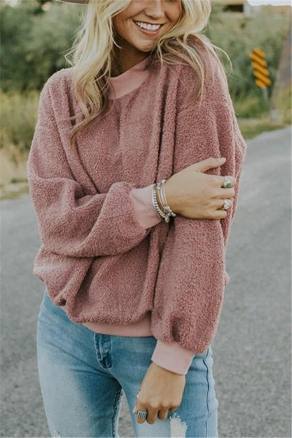 Casual Fashionable Round Neck Long Sleeve Plush Sweater Fleece Pink s