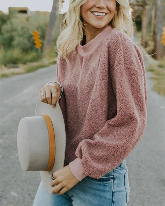 Casual Fashionable Round Neck Long Sleeve Plush Sweater Fleece Pink l