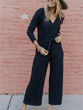 Casual Sexy V Neck Button Down Long Sleeve Jumpsuit
