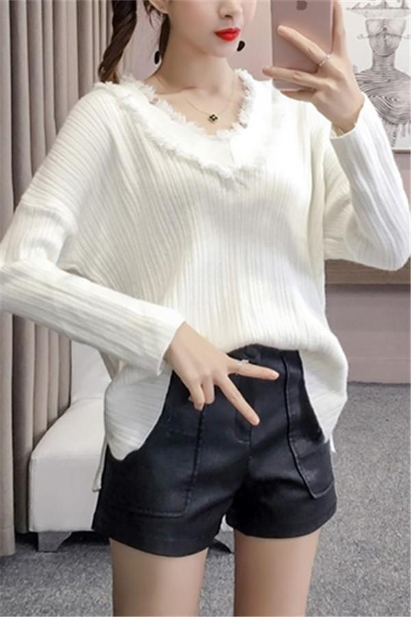 Casual Loose Pullover Knitted Sweater Beige one size