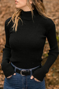 Turtle Neck Long Sleeve Knitting Sweaters Black l
