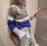 Casual Turtleneck Knit Sweater In Matching Colors