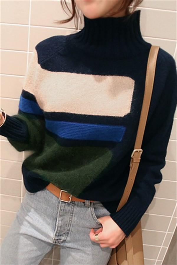 Casual Turtleneck Knit Sweater In Matching Colors Green one size