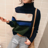 Casual Turtleneck Knit Sweater In Matching Colors Gray one size