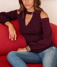Sexy Off The Shoulder V Neck Long Sleeved Blouse And T Shirt