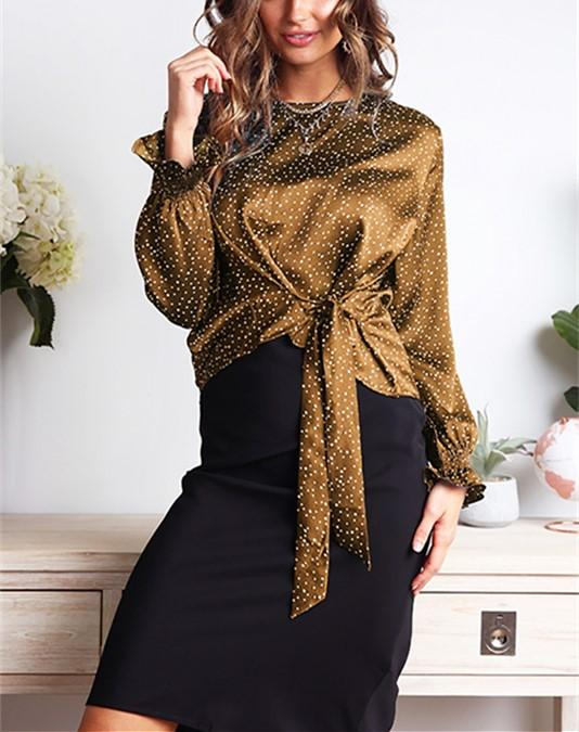 Casual Wave Print Bow Long Sleeve Blouse T-Shirt Black xl