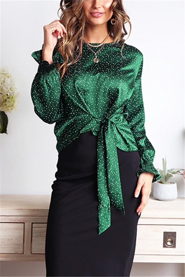 Casual Wave Print Bow Long Sleeve Blouse T-Shirt Green s
