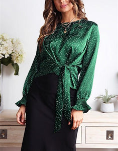 Casual Wave Print Bow Long Sleeve Blouse T-Shirt Green l