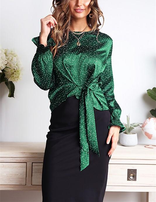 Casual Wave Print Bow Long Sleeve Blouse T-Shirt Green m