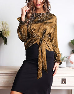 Casual Wave Print Bow Long Sleeve Blouse T-Shirt Black s