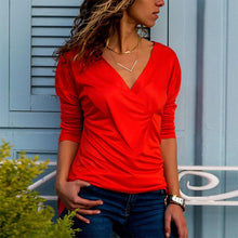 Casual Pure Color V-Neck Long Sleeved Pleated Slim T-Shirt Blouse