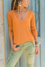 Pure Color Casual V-Neck Printed T Shirt Blouse