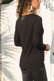 Casual Slim Knit Pit   T-Shirt Blouse Black m