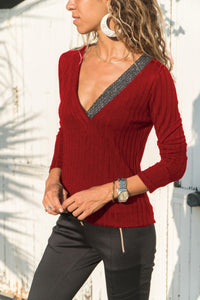 Casual Slim Knit Pit   T-Shirt Blouse Red 2xl