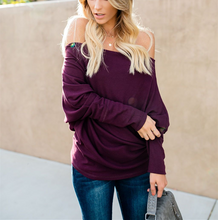 Casual Pure Color Sexy Off The Shoulder T-Shirt Blouse