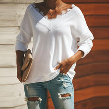 Fashion Lace Trim V-Neck Easy And Simple Knit Sweater
