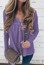 Casual Pure Color Stand Up Collar Button Down Long Sleeve Knit Blouse T-Shirt