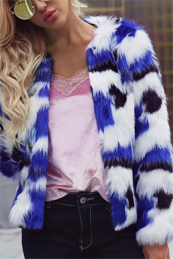 Casual Short Fur Coat   With Mixed Colors Blue s