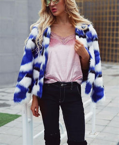 Casual Short Fur Coat   With Mixed Colors Blue 2xl
