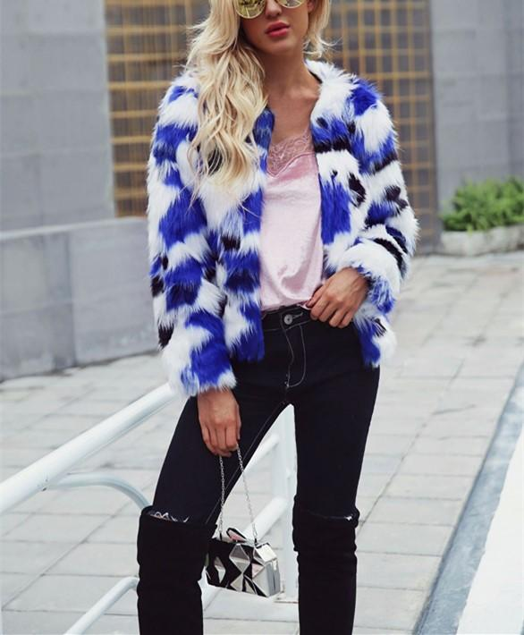 Casual Short Fur Coat   With Mixed Colors Blue xl