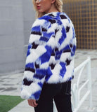 Casual Short Fur Coat   With Mixed Colors Blue 3xl
